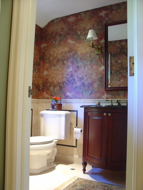 abstract floral mural in powder room. Replica of a discontinued wallpaper