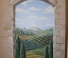 trompe l'oie Tuscan country side mural