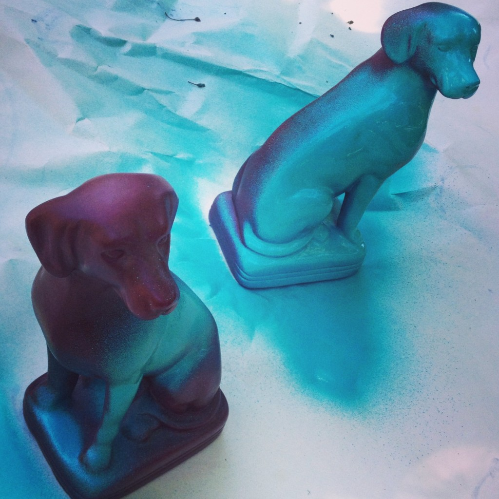 A $2. pair of dog bookends get a fresh coat.