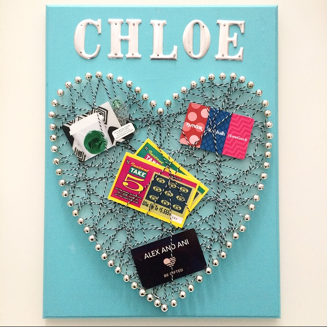 Valentine's Day DIY memo board with gift cards, scratch offs and lottery tickets