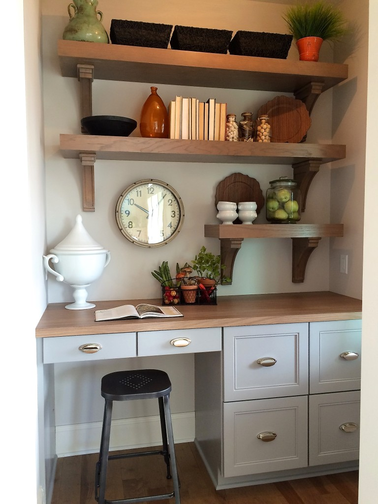 Kitchen pantry:gray and open wood shelving by MemeHill.com