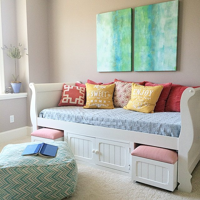 white daybed and colorful teen room from MemeHill.com