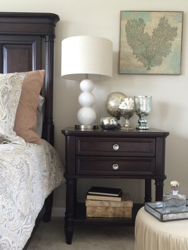 This bed is just right! A sophisticated coastal inspired master suite bedroom by MemeHill.com