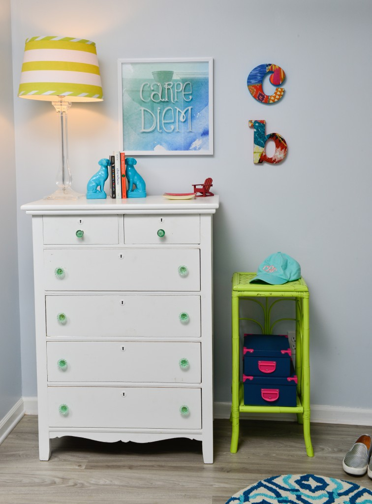 hand painted heirloom dresser and a spray painted side table in this colorful teen girls bedroom