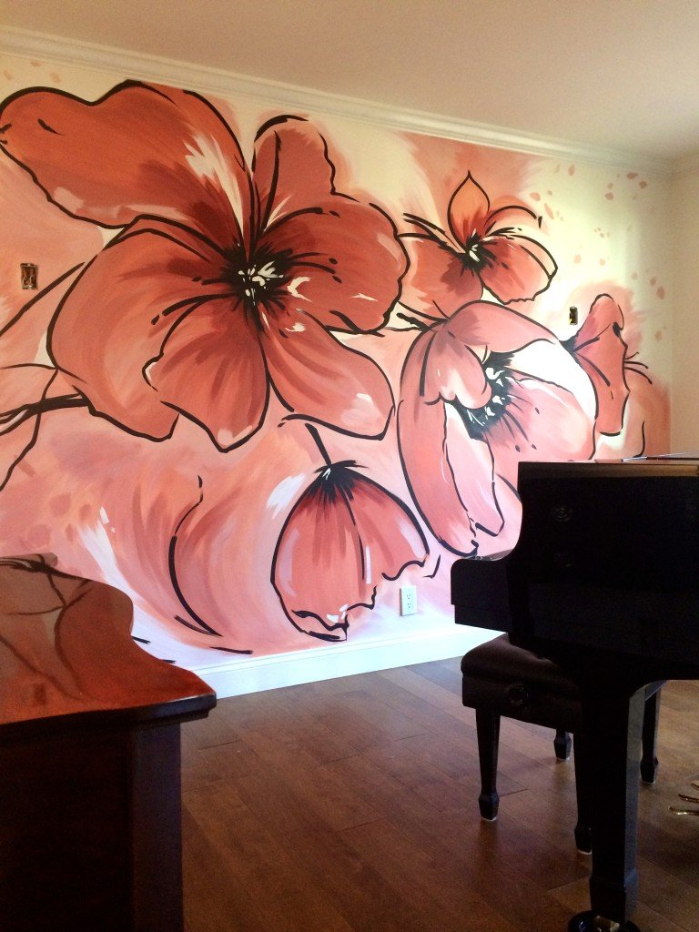 contemporary pink  flower mural
