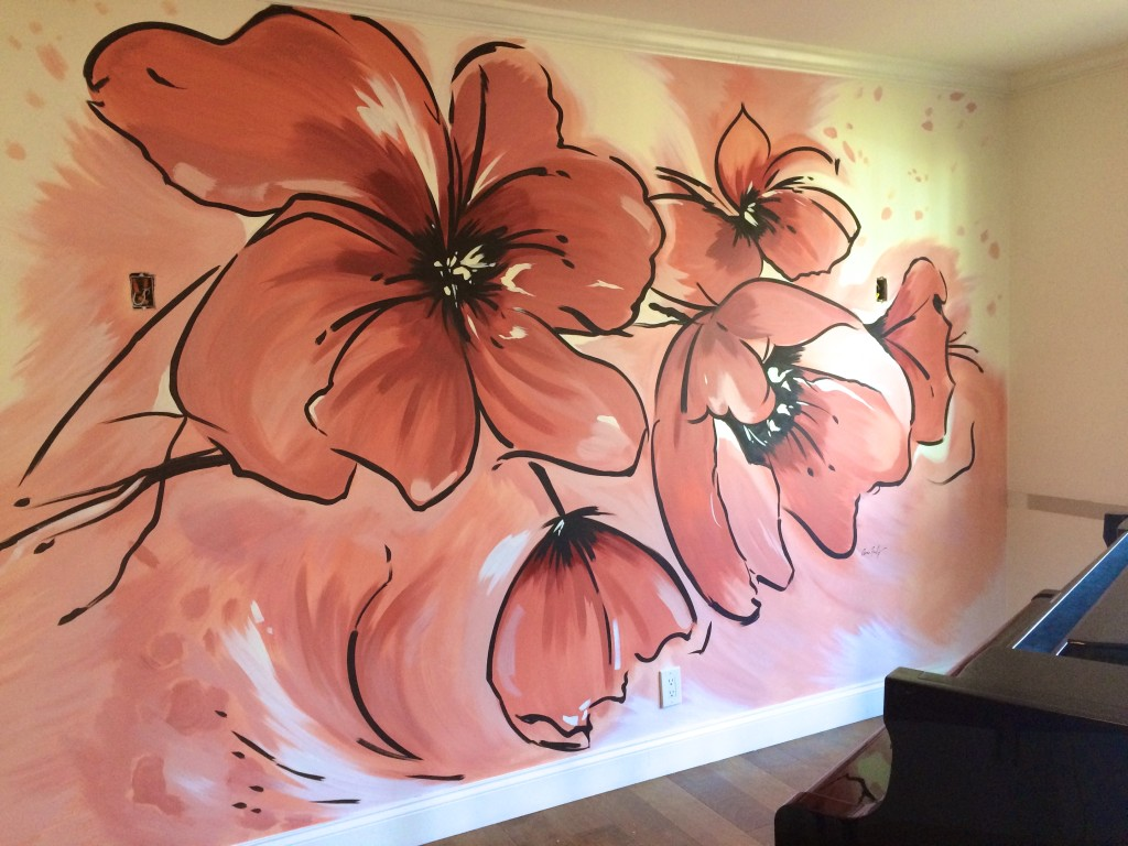 modern poppy floral mural by Meme Hill Studio