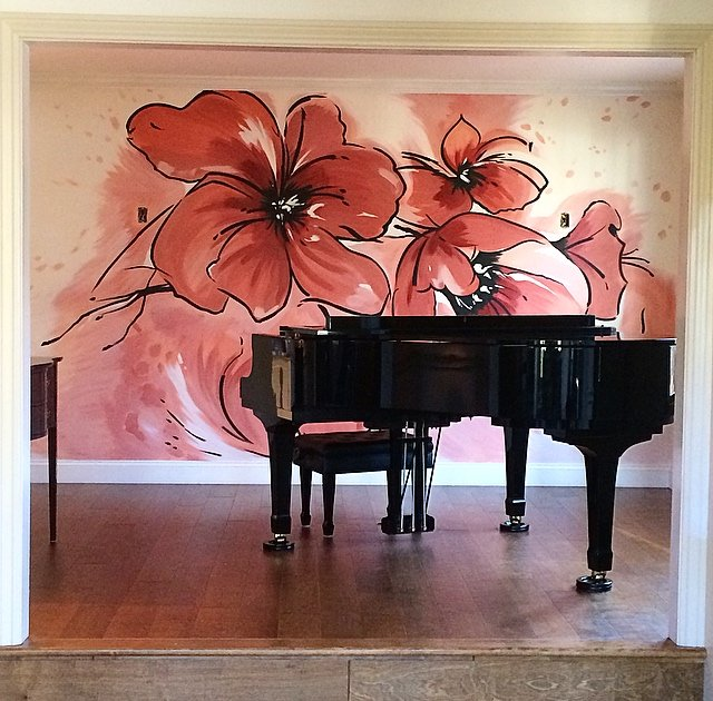 large monochromatic pink flower wall art