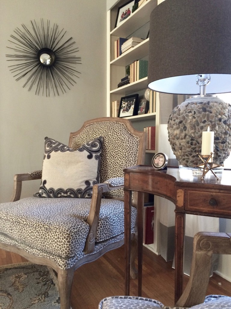 Fresh eclectic living room makeover with a gray, black, white and loads of texture from MemeHill Studio