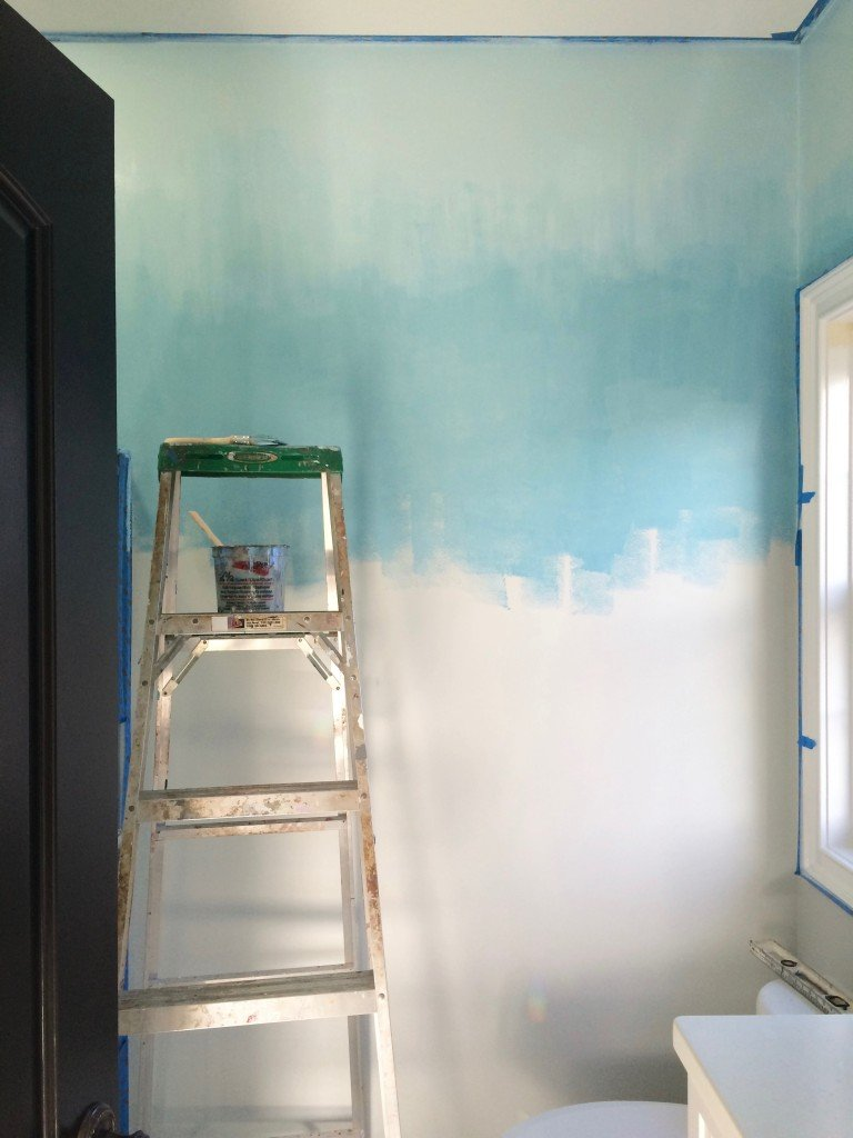 in progress image of the beginning of painting a ombre wall faux finish