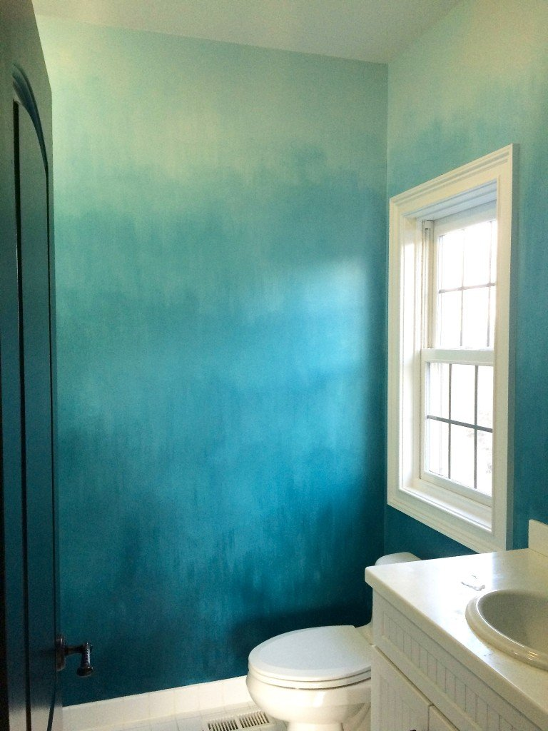 turquoise ombre wall bathroom walls painted with benjamin Moore paints