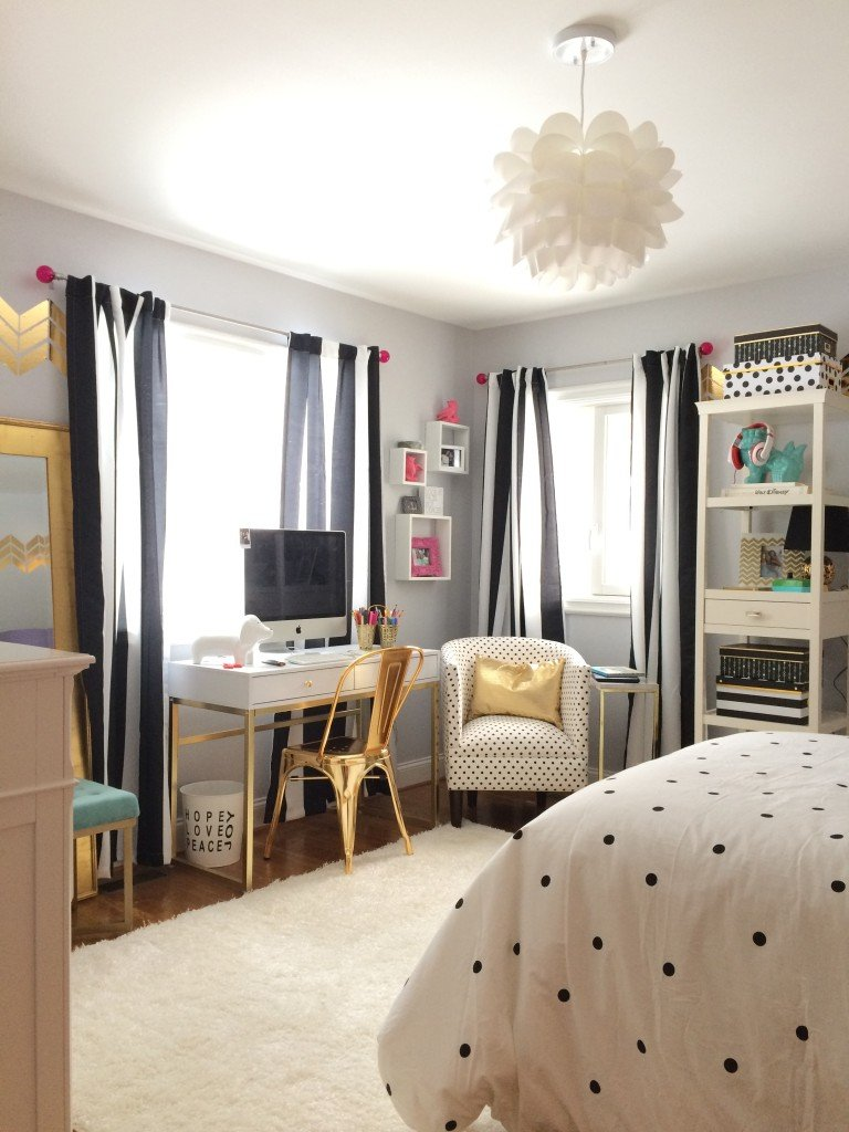 Black, White and Chic all over; Teen room makeover with Raymour & Flanigan