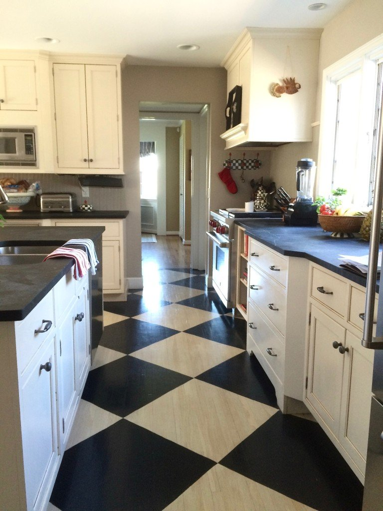 Black And White Painted Checkered Floor