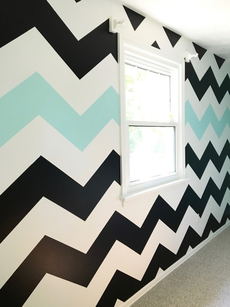 How_to_paint_chevron_stripes_ turquoise_black_white_wall