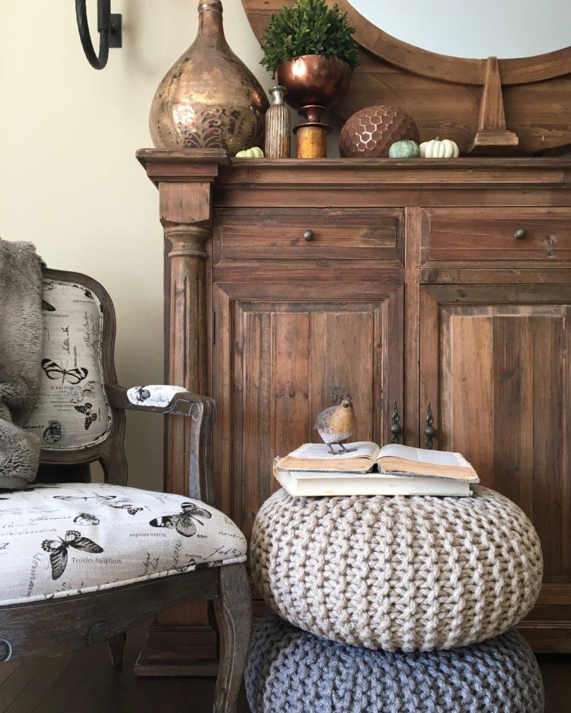 poufs_rustic_decor_fall_decor_ideas_livingroom_metal_copper_vases_homegoods