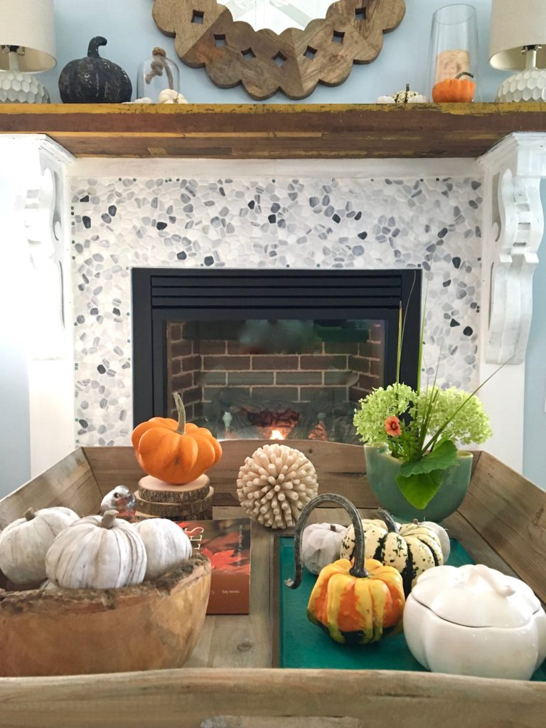 styling_a_coffee_table_fall_pumpkins_tray_rustic_cottage_fireplace_mantel_decor