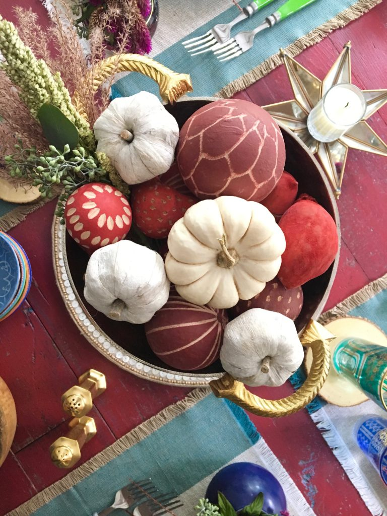 thanksgiving_friendsgiving_setting_the_table_boho_chic_gold_wishbone_glasses_world_market_pumpkin_centerpiece