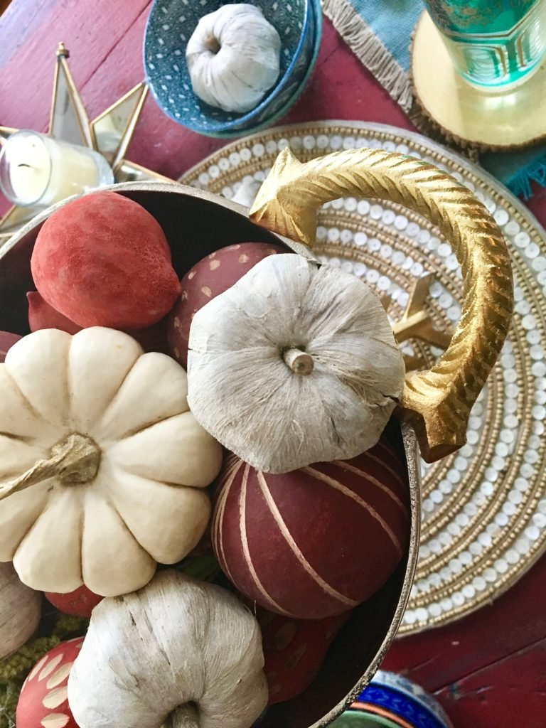 thanksgiving_friendsgiving_setting_the_table_boho_chic_gold_wishbone_glasses_world_market_white_pumpkin