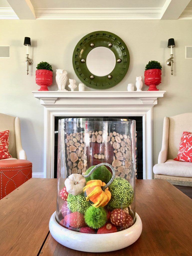 styling-the-perfect-fall-coffee-table-home-decor-blogger-tips-tricks-centerpiece-vintage-antique-library-table-beautiful-fireplace-mantel-owls