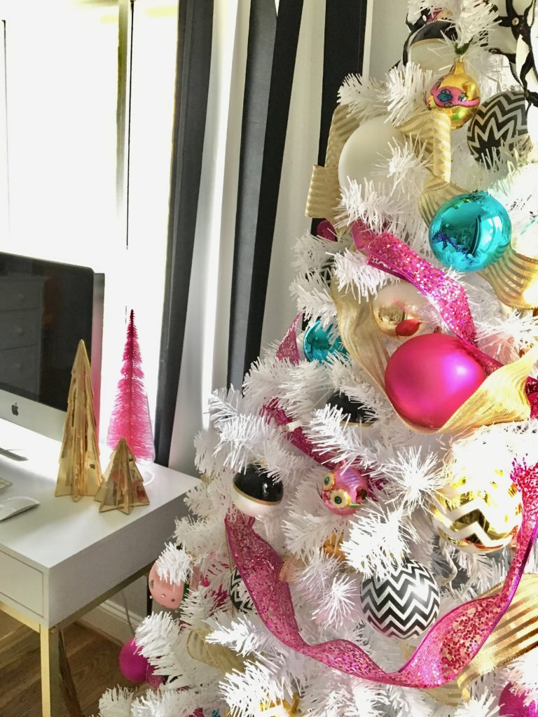 meme-hill-black-white-christmas-tree-teen-room-pink-ornaments-raymour-flanigan-elio-gold-desk-polka-dots-colorful-ornaments-white-tree