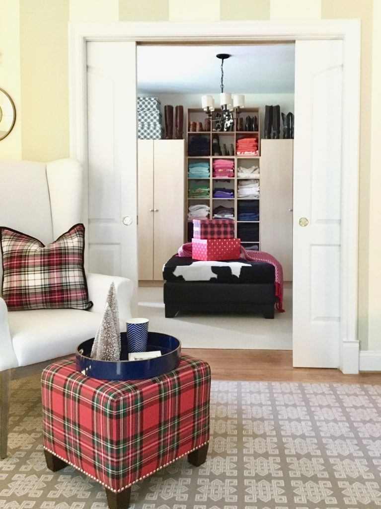 christmas-decorating-ideas-master-bedroom-homegoods-plaid-tree-cozy-closeottoman