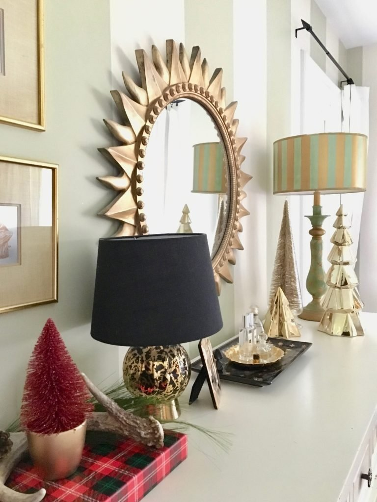 christmas-home-blogger-tour-tree-ornament-glass-fireplace-mantel-garland-flocked-traditional-gold-bedroom