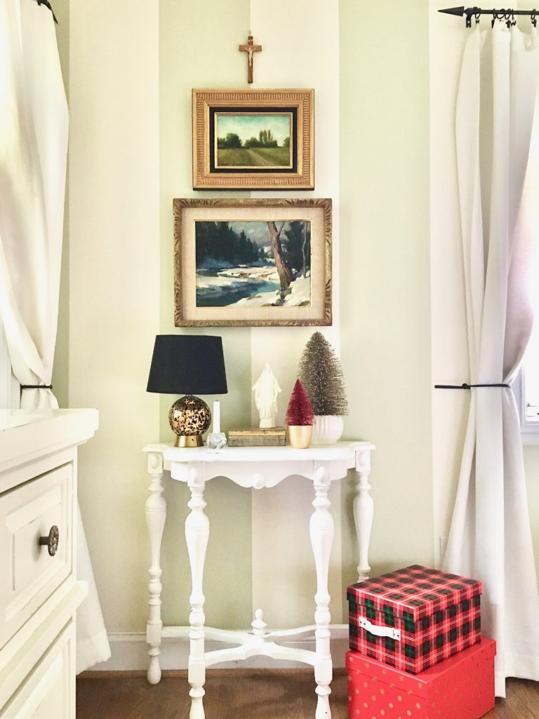 christmas-home-blogger-tour-tree-ornament-glass-fireplace-mantel-garland-flocked-traditional-gold-painting