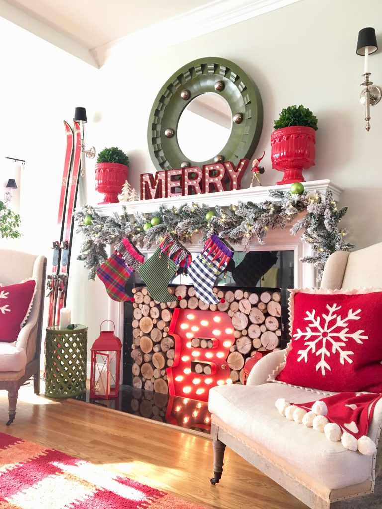 christmas-home-blogger-tour-tree-ornament-glass-fireplace-mantel-garland-flocked-traditional-whimsical-stockings