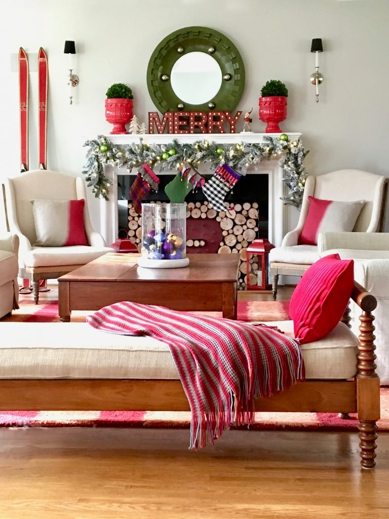 christmas-home-blogger-tour-tree-ornament-glass-fireplace-mantel-garland-flocked-traditional-whimsical-stockings-daybed