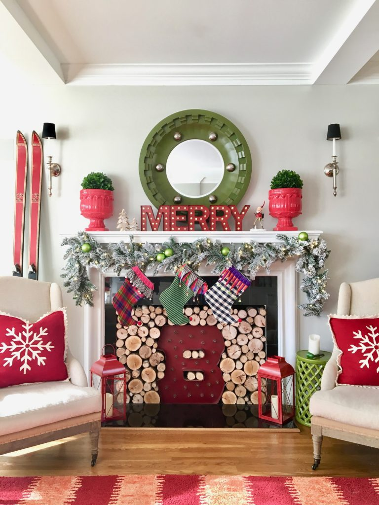 christmas-home-blogger-tour-tree-ornament-glass-fireplace-mantel-garland-flocked-traditional-whimsical-stockings-meme-hill