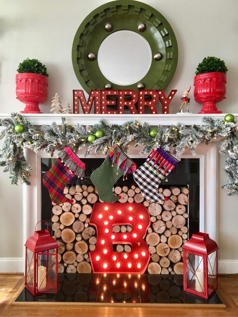 christmas-home-blogger-tour-tree-ornament-glass-fireplace-mantel-garland-flocked-traditional-whimsical-stockings-meme-hill-red-lanterns