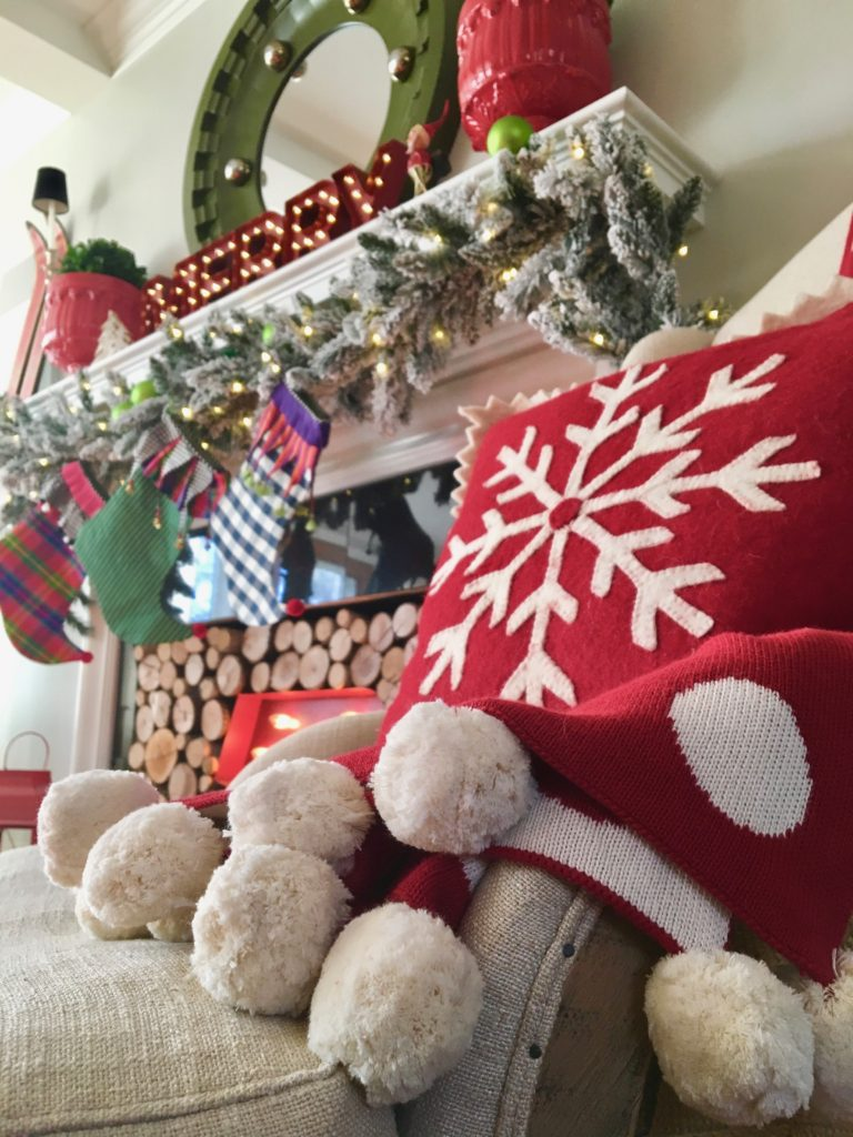 christmas-home-blogger-tour-tree-ornament-glass-fireplace-mantel-garland-flocked-traditional-whimsical-stockings-pom-pom-blanket