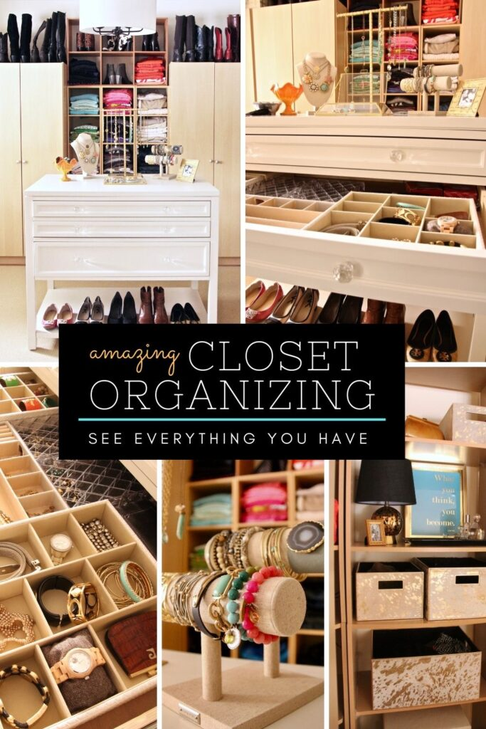 an organized walk in closet with a center island craft station used for jewelry storage