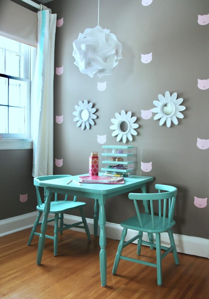 Sherwin_williams_poised_taupe_color_year_bedding_gold_land_nod_Homegoods_target_Pink-Mint_green_girls_room_Cute_fabulous-painted-door-craft-table