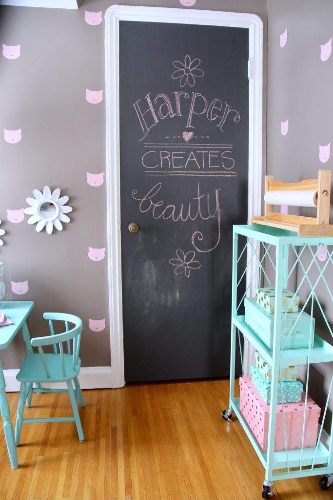 Sherwin_williams_poised_taupe_color_year_bedding_gold_land_nod_Homegoods_target_Pink-Mint_green_girls_room_Cute_fabulous_chalkboard-painted-door-craft