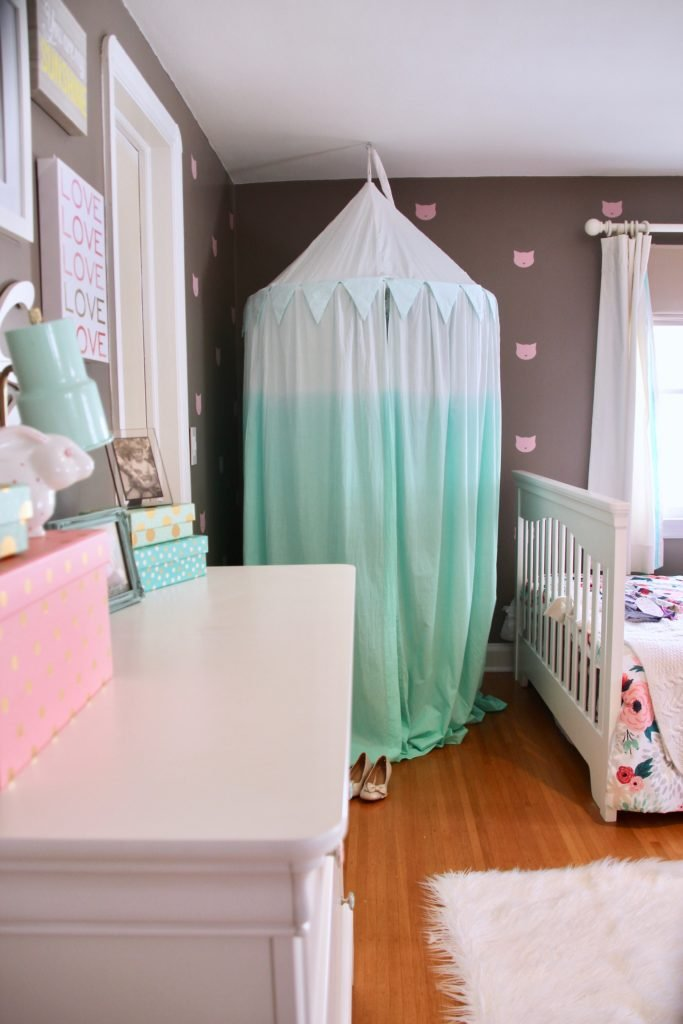 Sherwin_williams_poised_taupe_color_year_bedding_gold_land_nod_Homegoods_target_Pink-Mint_green_girls_room_Cute_fabulous_ombree-Teepee-tent