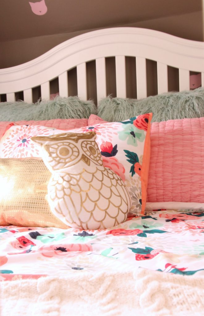 Sherwin_williams_poised_taupe_color_year_bedding_gold_land_nod_Homegoods_target_Pink-Mint_green_girls_room_Cute_fabulous_owl_pillow-sequin