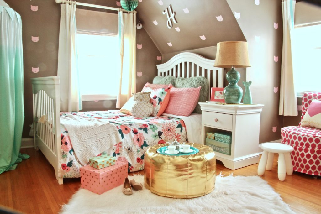 Sherwin_williams_poised_taupe_color_year_bedding_gold_land_nod_Homegoods_target_Pink-Mint_green_girls_room_Cute_fabulous_owl_pillow_pouf