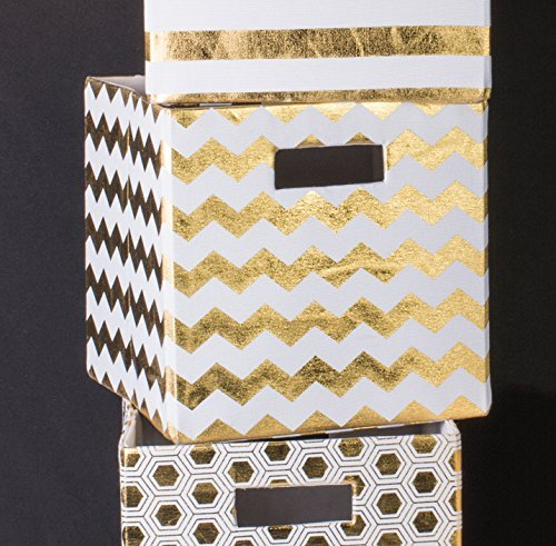 gold-white-storage-bins-boxes-closet-chevron-honeycomb-striped