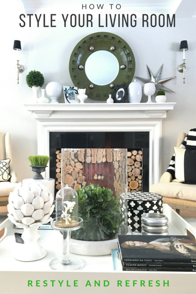 how-style-your-living-room-black-white-beautiful-fireplace-mantel-HGTV-coffee-table