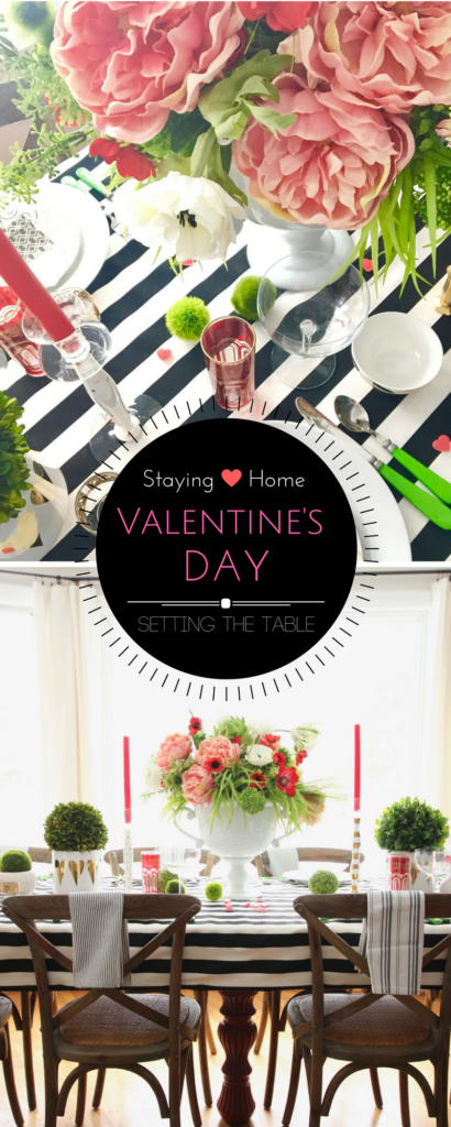Easy Valentine's day entertaining with a pretty farmhouse tablescape in black and white