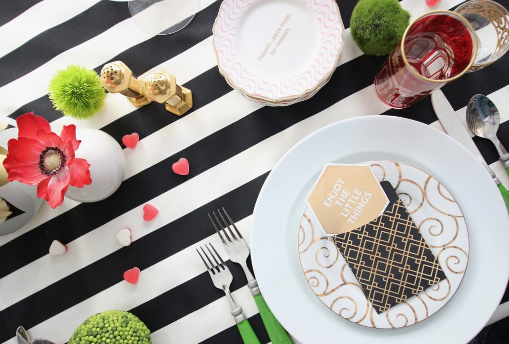 setting_the_table-Valentine's_day_black_white_stripes_gold_dinner_entertaining_Love_flowers_hearts_dessert_plates_michaels