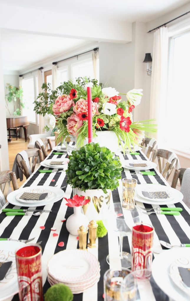 black_white_stripes_gold_dinner_entertaining_Love_flowers_hearts_family_whimsical