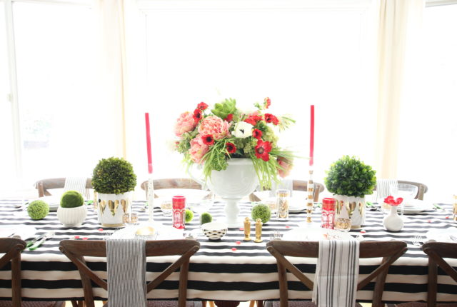setting_the_table-Valentine's_day_black_white_stripes_gold_dinner_entertaining_Love_flowers_hearts_tablescape