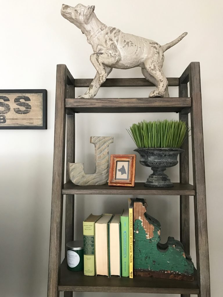 Spring_livingroom_tour-Blogger-slipcovered_furniture_Lakeside_chair_ottoman_Raymour_flanigan_familyroom_interior_design_rustic_farmhouse_style_TV_console_media_cabinet_wyatt_bookshelf_hudson_penny_sculptures