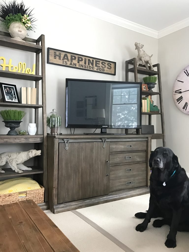slipcovered_furniture_Lakeside_chair_ottoman_Raymour_flanigan_familyroom_interior_design_rustic_farmhouse_style_TV_console_media_cabinet_wyatt_bookshelf_hudson_penny_sculptures_barn_door