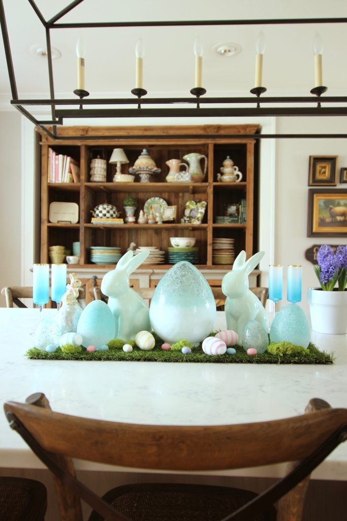 HomeGoods_Easter_eggs_turquoise_glass_painted_Rabbits_meme_hill_studio_Spring_centerpiece