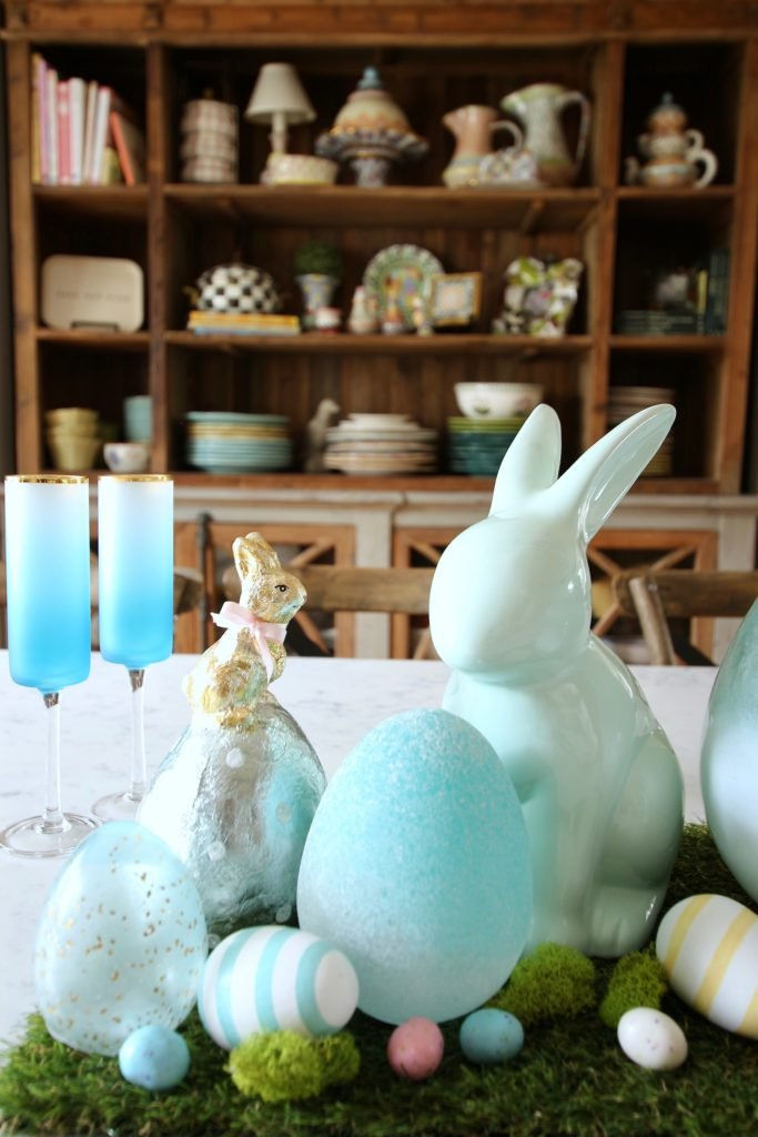 HomeGoods_Easter_eggs_turquoise_glass_painted_Rabbits_meme_hill_studio_champagne_flute