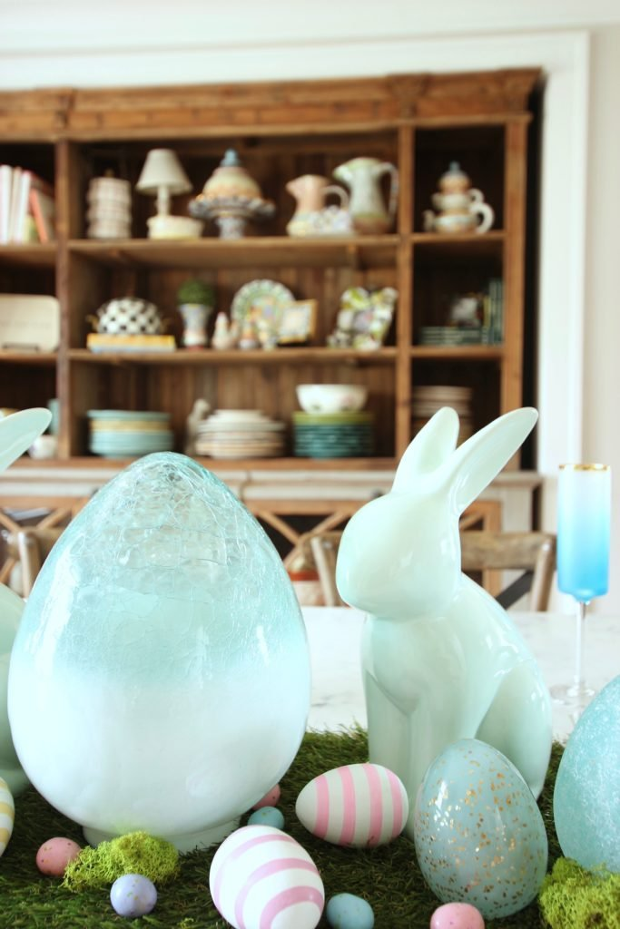 HomeGoods_Easter_eggs_turquoise_glass_painted_Rabbits_meme_hill_studio_glass