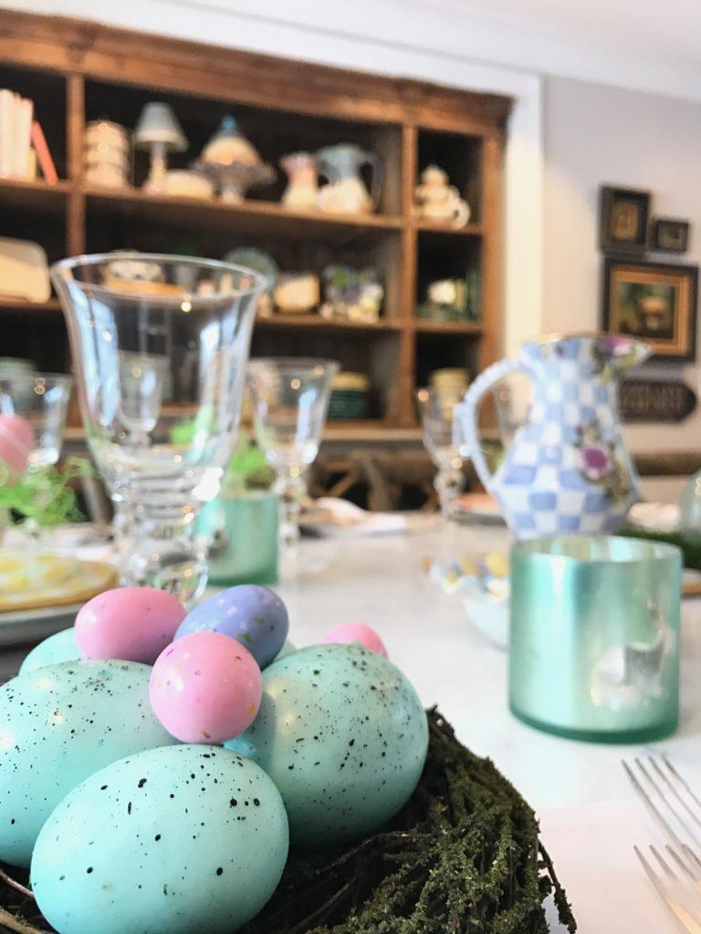 HomeGoods_Easter_eggs_turquoise_glass_painted_Rabbits_meme_hill_studio_nest