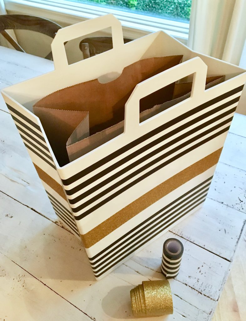 REbin-earth_day_recycling_bin_cool-stylish_washi_tape_DIY-black_white_decorate_michaels_gold_glitter_paper_bag